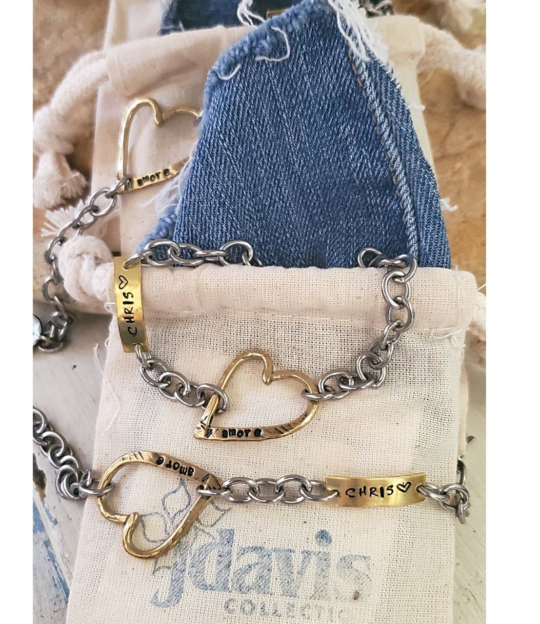 artisan heart bracelets and jewelry pouches with denim