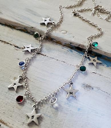 Silver Star Birthstone Necklace