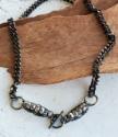 Black chain, toggle silver stone collar necklace