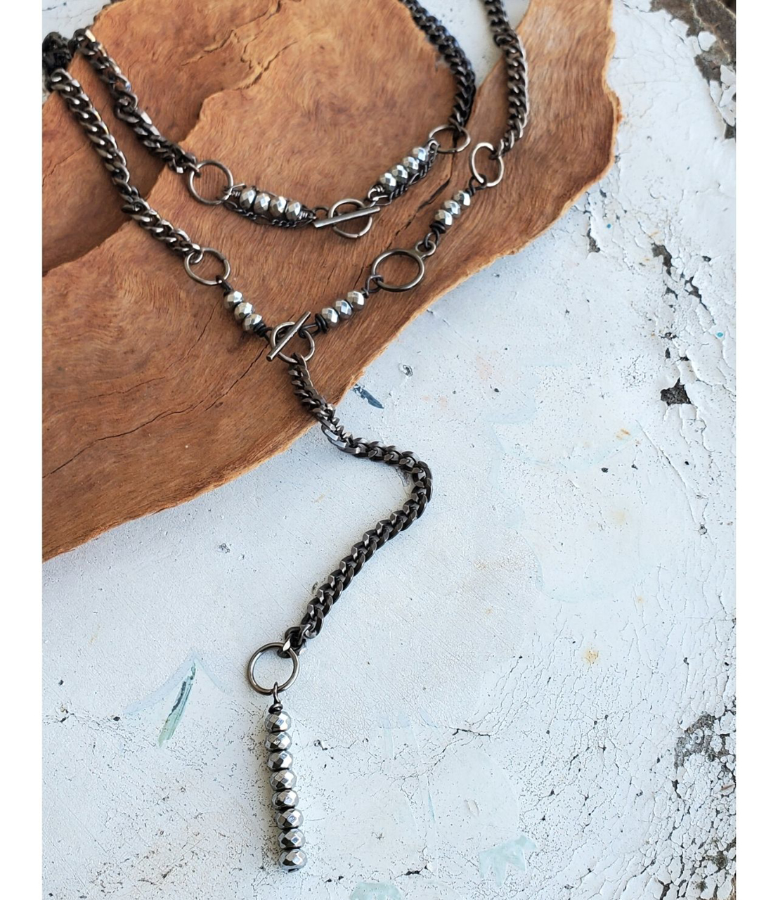 Layered Black chain, toggle silver stone collar necklace