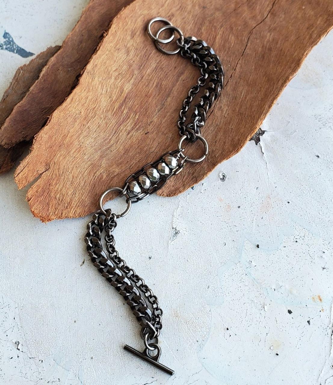 long view  black gunmetal chain silver stone bracelets