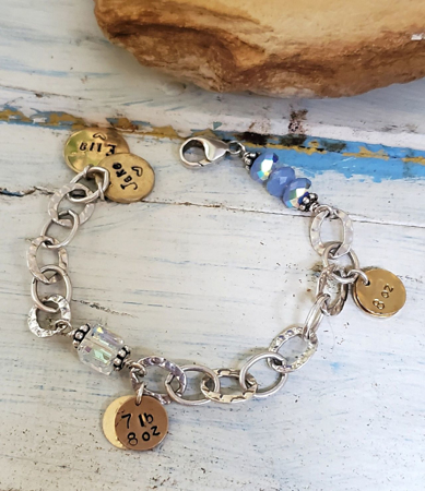silver chain charm bracelet with gold charms & Swarovski crystals