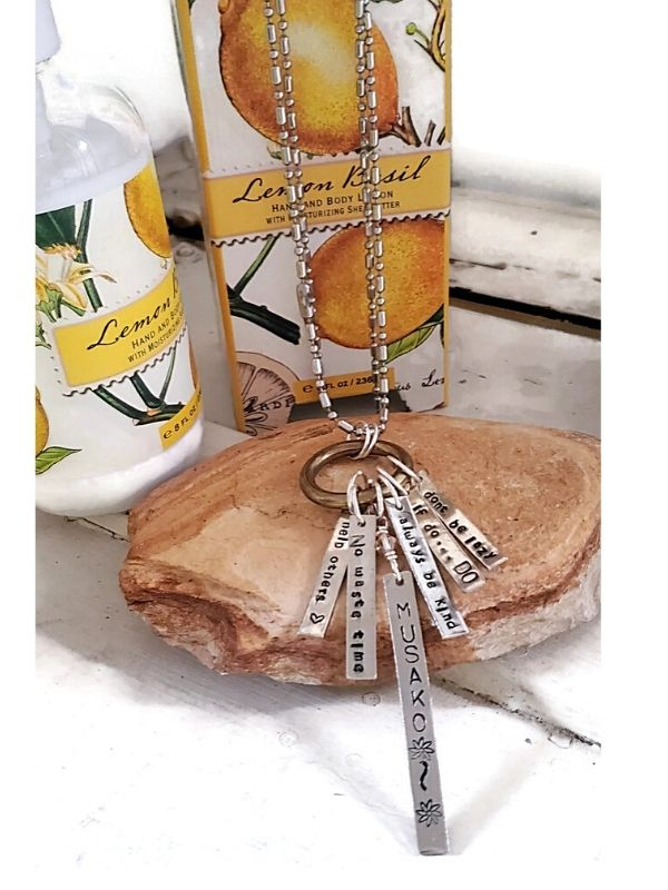 charm necklace and body lotion